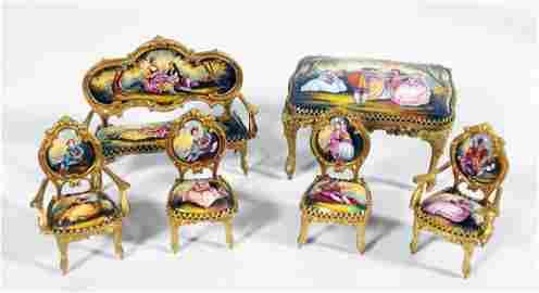 Set Of Austrian Vienna Vienniese Gilt Porcelain Music