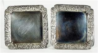 Pair Of Small Square Sterling Dishes