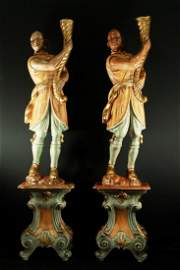 Pair Of Monumental Carved Figures On Bases