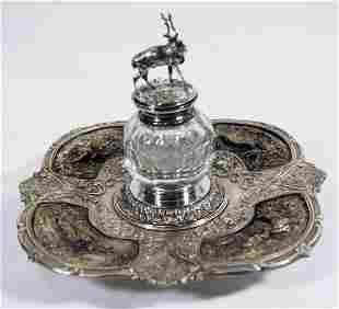 Repousse Silvered Metal Inkwell With Deer