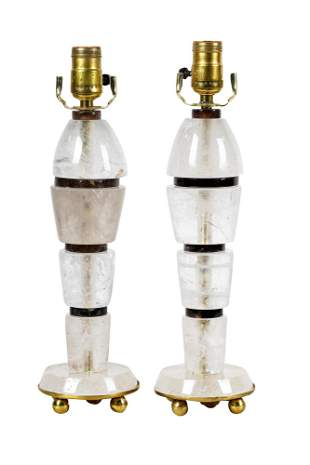 Pair Art Moderne Style Rock Crystal Lamps