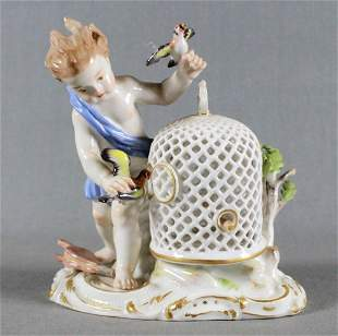 19Th C. Meissen Porcelain Firgure Of Boy With Bird Cage