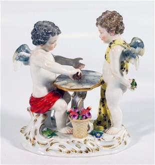 Meissen Porcelain Figure Of Cherubs Playing Dice