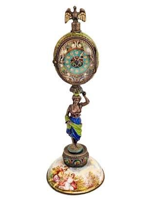 Austrian Austrian Viennese Vienna Enamel Painted Clock