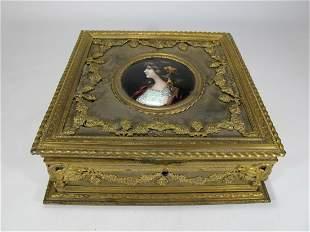 Antique French Bronze & Enamel Jewelry Box