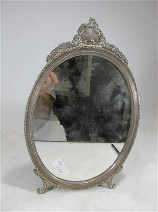 Antique Silver & Wood Table Mirror