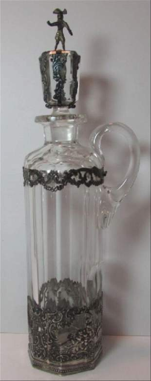 Dutch Silver & Cut Crystal Decanter Bottle C1850