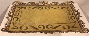 Large Brass French Putti Border, Eglomise Dresser Tray