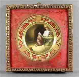 "Antique Dresden Framed Cabinet Plate"" The"