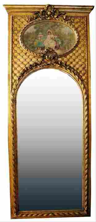 Large Gilded Floral Trumeau Mirror