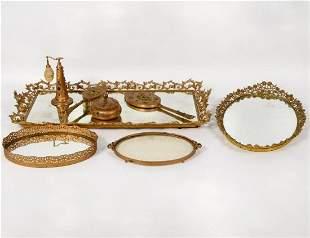 10 Pc. Gilt Bronzed Metal Dresser Set