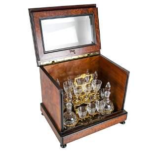 Burlwood Box Tantalus Bar Set