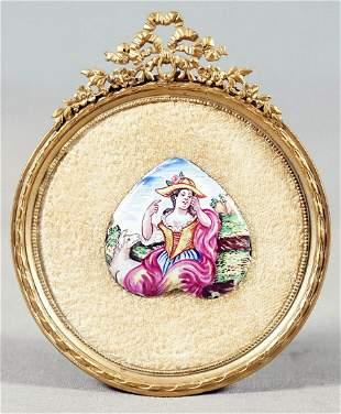 French Enamel Heart Portrait In Gilt Bronze Frame