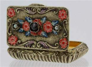 19Th C. Victorian Gilt Silver Jeweled Enamel Viennese