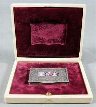 Antique Silver Enamel Business Card Box