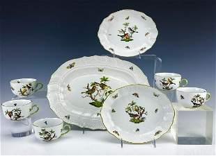 8Pc Herend Rothschild Bird Cups Serving Tray Bowls