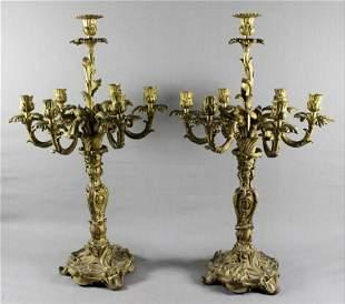 Pair mid 19th C. Louis Xv Style Gilt Bronze Seven-Light