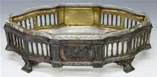 Antique Silverplated Openworked Centerpiece W/ Glass