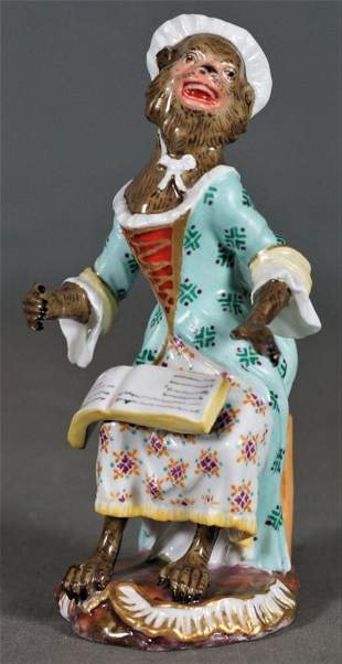 Antique Meissen Dresden Porcelain Monkey Choir Member