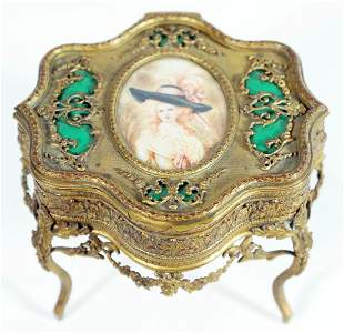 Footed Brass And Enamel Jewelry Box