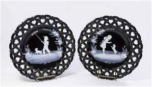 Pair Mary Gregory Enamel Painted Plates