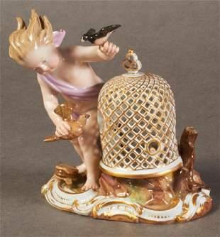 19Th C. Meissen Figure Of Bird Cage