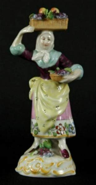 Dresden Figure Of Woman With Basket Of Fruit