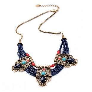 Retro Turquoise Coral Blue Bead Tibetan Necklace Lapis