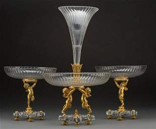 Three-Piece Baccarat Gilt Bronze And Cut-Glass Figural