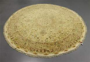Hand Knotted 8.5' Persian Tabriz Round with Silk Rug