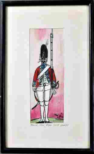 French Guard Painting Signed By Artist 1972