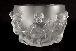 """13"""" Lalique Luxembourg French Crystal Cherub Bowl Vase"""