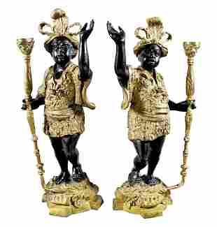 Pair Of Venitian Bronze Blackmoor Figures