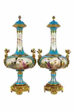 Pair Of Sevres Style Porcelain Covered Vases