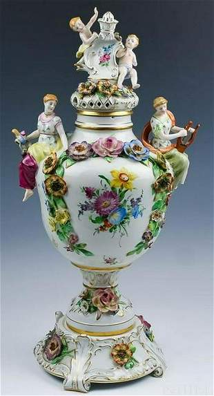 Meissen Style Ornate Figural Porcelain Covered Urn