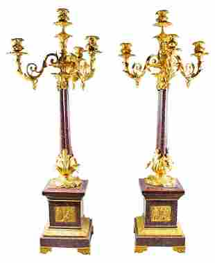 Pair Of Louis Xvi Style 4 Light Candelabras W/ Bronze