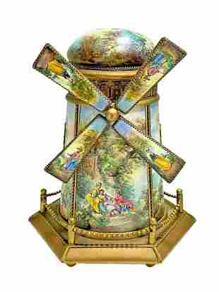 Large Viennese Austrian Enamel Windmill Musical Jewelry