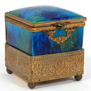 """French Mp Sevres & Bronze Music Box H 4"""", W 4"""""""