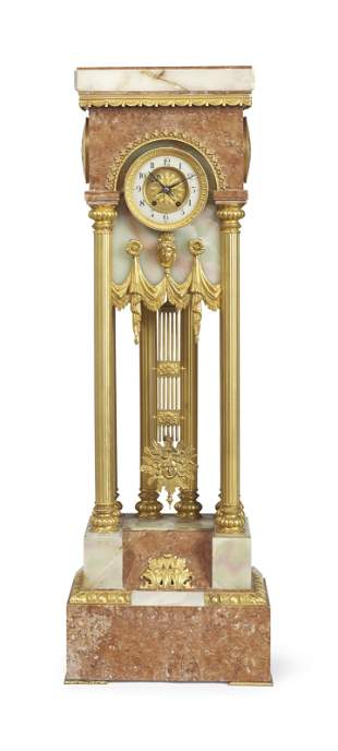 French Ormolu-Mounted Onyx And Marble Pedestal-Clock