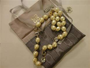 Authentic Givenchy Cream Faux Pearls And Swarovski