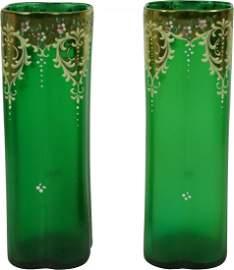 Pair of MOSER Green Victorian Vases Gold Enamel Gilding