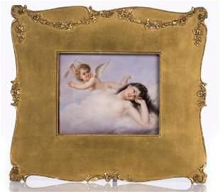19Th C. Kpm Hand Painted Porcelain Plaque Woman W/ A