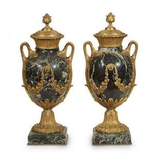 A Pair Of Louis Xvi Style Ormolu Mounted Serpentine
