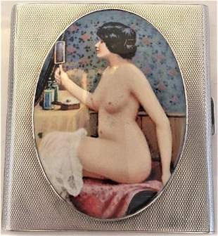 Antique British Erotic 1924s Nude Lady Sterling Silver