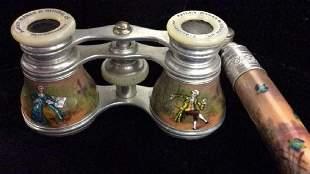 Antique Vienna Viennese Silver Enameled Opera Binocular