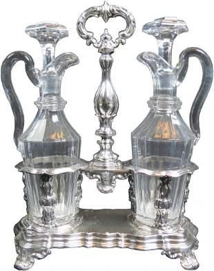 French Sterling & Cut Crystal Oil & Vinegar Set