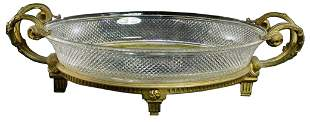 Vintage Oval Crystal Glass Dish In Bronze Footed Stand