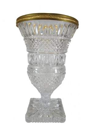 Vintage French gilt crystal & bronze vase