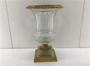 French Gilt Bronze Cut Crystal Vase