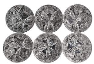 6 Antique American Brilliant Period Hawkes Finger Bowls